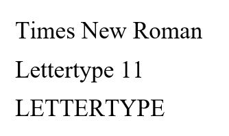 Times New Roman lettertype 11 RB Laser