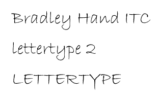 Bradley Hand ITC lettertype 2 RB Laser