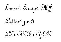 French Script lettertype 3 RB Laser