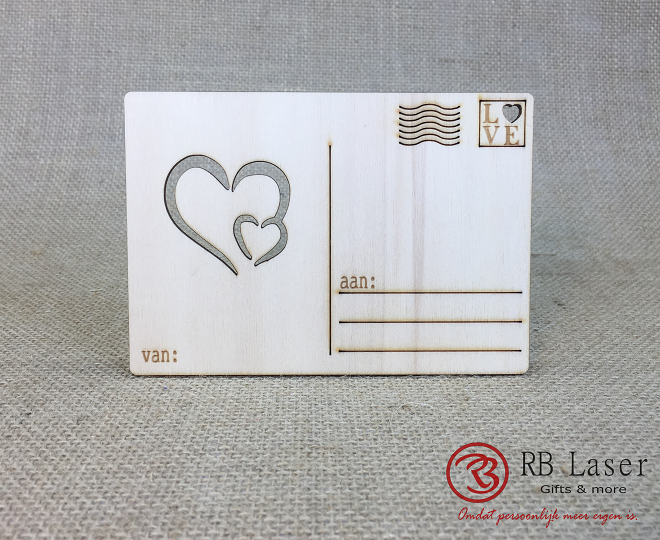 Postkaart met hartjes