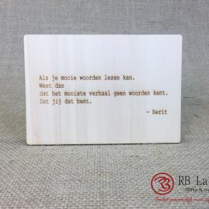 Postkaart met tekst