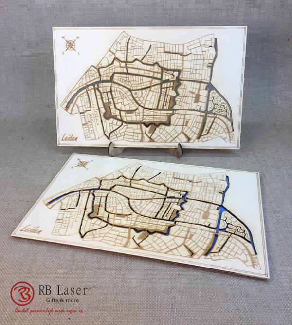 Plattegrond Leiden laser gesneden