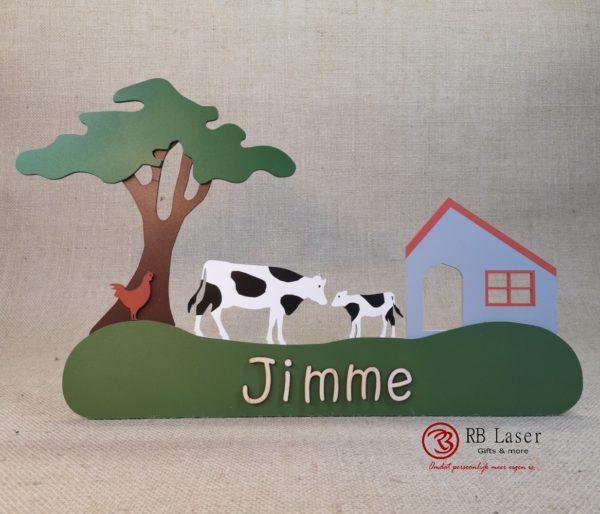 Naambord koeien op de boerderij Jimme