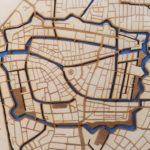 Plattegrond Leiden centrum blauw water