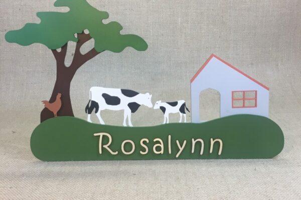 Naambord koeien op de boerderij Rosalynn